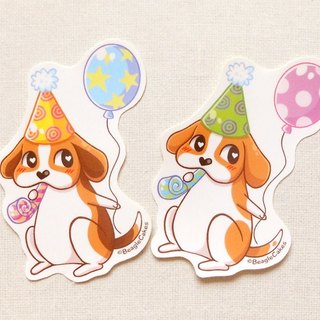 Beagle Birthday Stickers (2 Pieces) - Birthday Stickers - Planner Stickers
