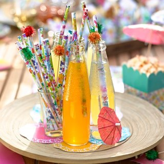 """Flower feast § paper straw"" Britain Talking Tables Party Supplies"