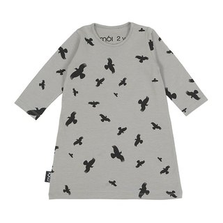 [Nordic Children's Wear] Icelandic Organic Cotton Flying Long Sleeve Dress Gray Play Dress pd1