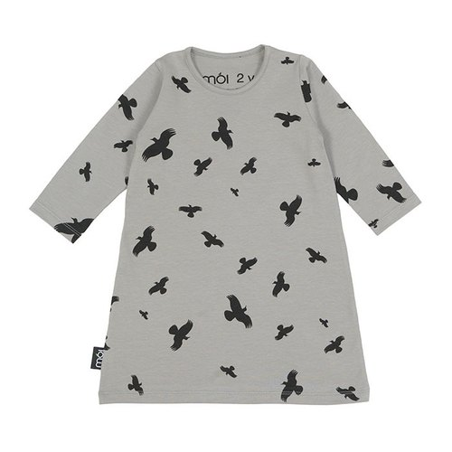 [Design] mói Nordic organic cotton long-sleeved dress children's clothing duck ferry flight gray Play Dress pd1 Grey Raven