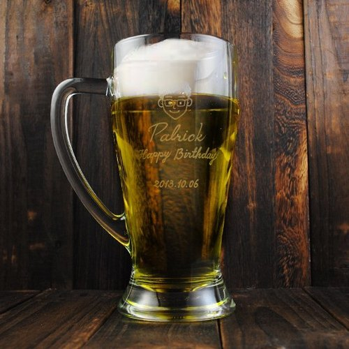 650cc [Cheers! Large capacity beer mug] simple Q edition doll name Bormioli Rocco Italian beer mug cup glass engraving lettering