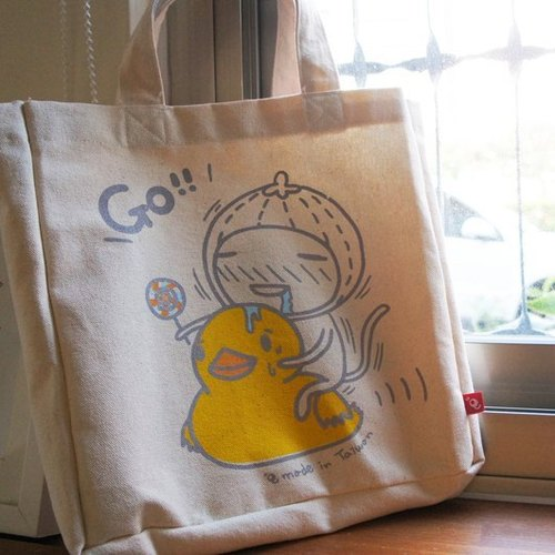 Caterpillars │ yellow duckling - cotton gray cloth bag