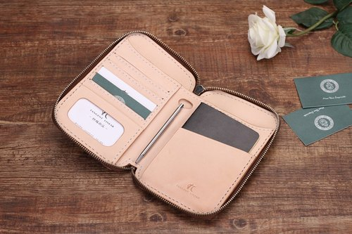 [Send] tangent Italian vegetable tanned leather handmade leather passport holder travel storage wallet short paragraph 003 colors