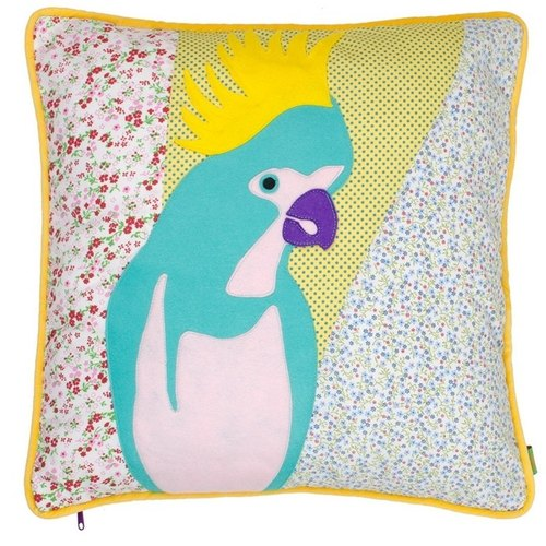 GINGER │ Denmark and Thailand design - cute parrot Patchwork cushion. Cushion