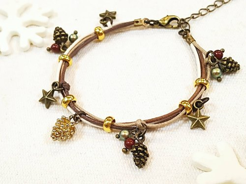 Paris. Well hand-made. ZAKKA. Christmas present. Echinacea / Acorn little secret. Fruit pearl bracelet wax cord