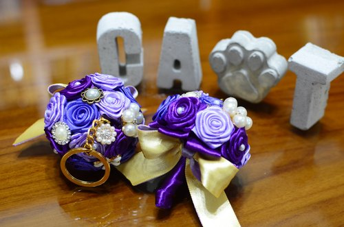 CAmelliaT camellia jewelry bouquet keychain cat * [purple control section] * was * sisters small wedding ceremony