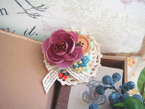 Garohands mist Sen Linxia bluegrass feel camellia brooch * cherry red powder F031 Gifts Department of Forestry