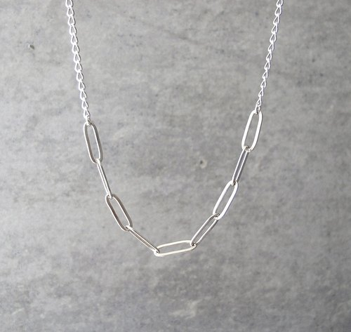 Stitch Necklace - Long Oval Ring - 20吋 925 Sterling Silver Long Necklace