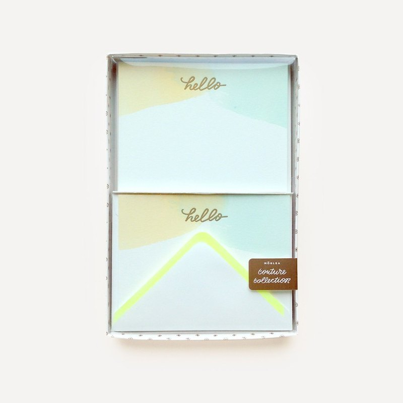 Monogram Water Hello Note Card Set