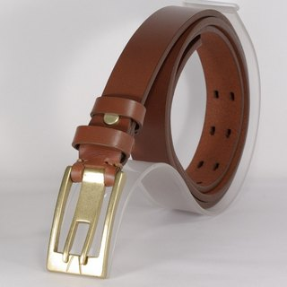 Handmade leather belt female leather narrow belt brown L free customized lettering service