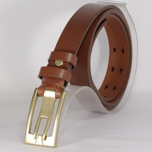Cowhide pin buckle leather belt type buckle wear narrow version Belt - brown L- custom imprint