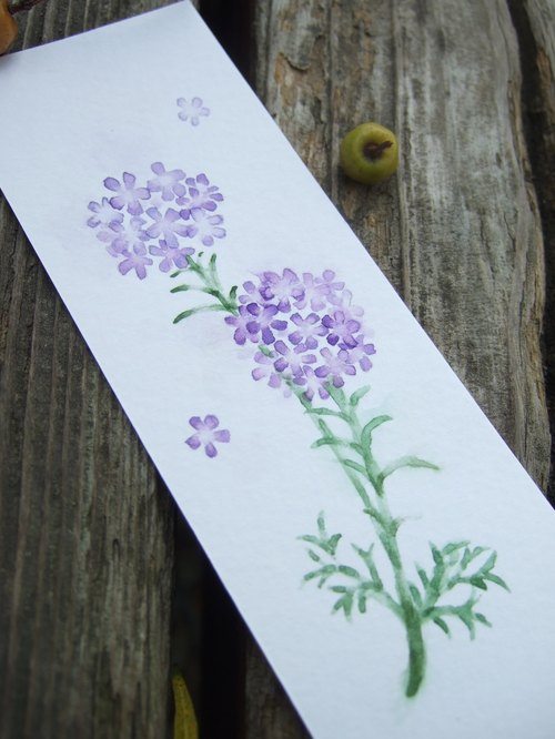 Verbena - hand-painted watercolor bookmark (original work)