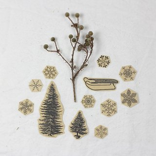 ✡ small scene - two fir snow snow sled ✡ 12 hand-painted kraft paper illustrator stickers