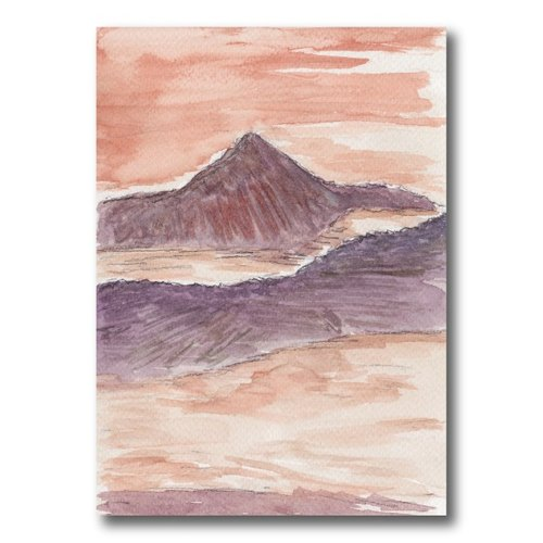 [Taiwan] alpine sunset Central Range Point - hand-painted postcards