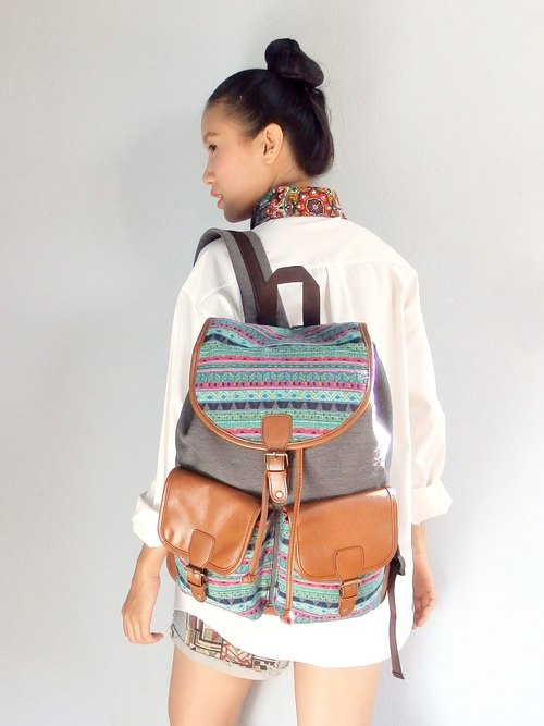 Canvas Gunny Tribal Backpack Boho Abstract Native Design Ethnic Hippie Aztec Gypsy Handwoven Handmade Tapestry Bohemian bag Vintage: Native Blue.