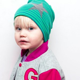[Nordic children's clothing] Swedish organic cotton stars striped hat green / blue