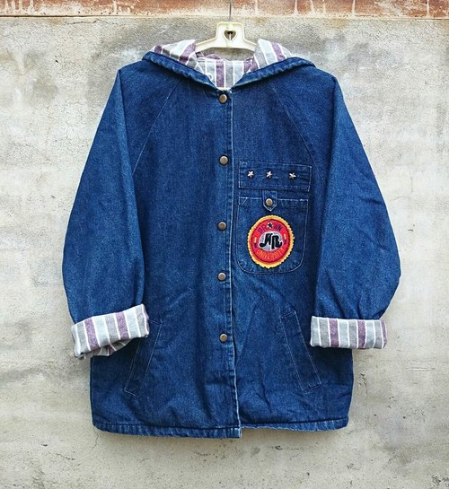 Stripes inside the buckle denim jacket embroidered patch - dislocation vintage -