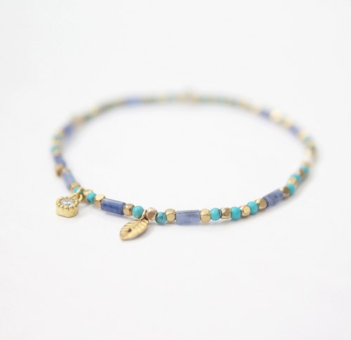 Soda stone, turquoise, white diamond trim zircon / brass bracelet