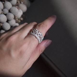 Silver 925 shimmer Lace ring