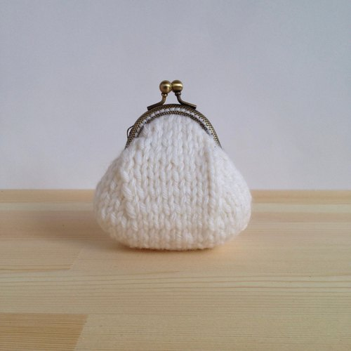 Xiao fabric - white wool woven purse mouth gold
