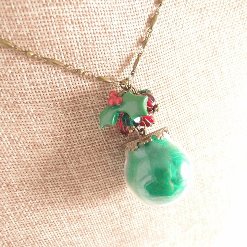 Merry Christmas! [CN0119-4] Christmas cotton candy jar pumpkin Czech beads x x x wool style necklace ● Christmas gift exchange