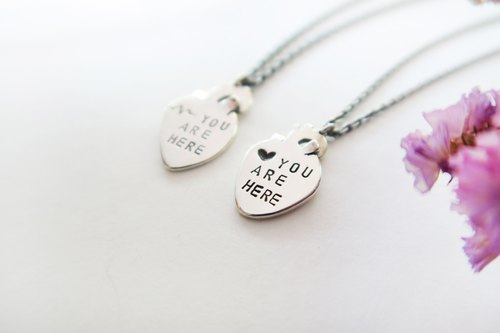 925 Silver You are here-heart- LOVE Couple Necklace-Sold as a Pair