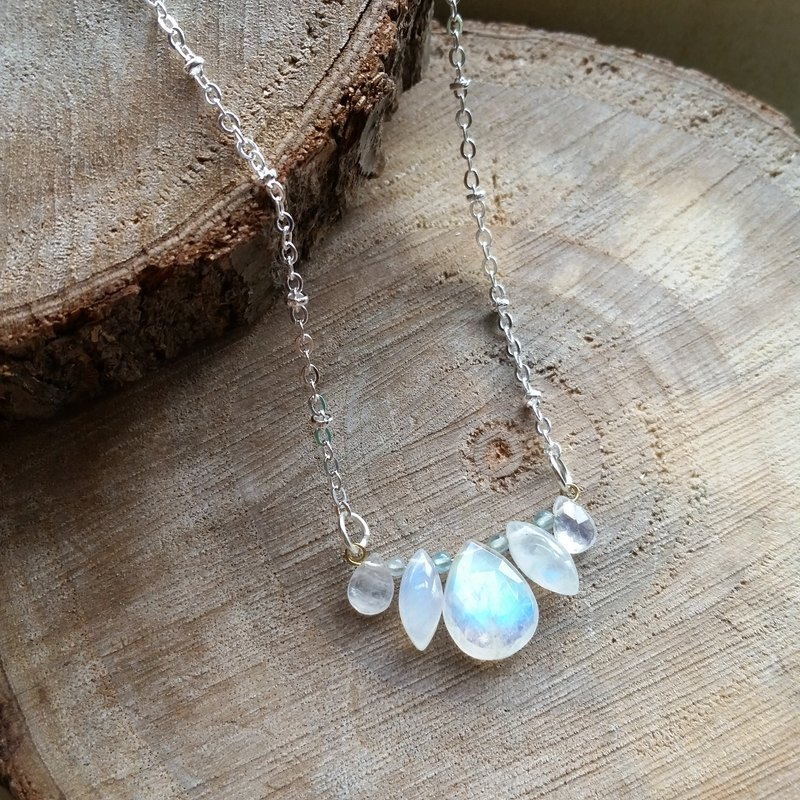Very rare large-size high-quality strong blue Moonstone / moonstone necklace a paragraph (no 2) (a matter of a map)