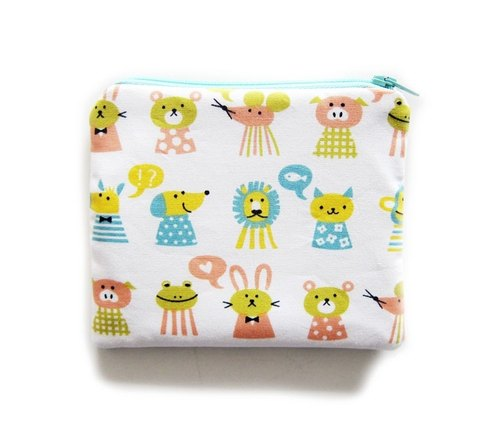 Zipper bag / purse / mobile phone sets of animals lined up