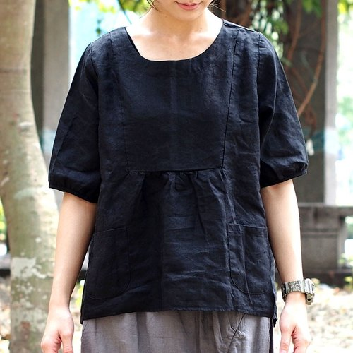 Calf Calf Village ├ original village not Zhuangshan ┤ short in front long sleeve cotton short-sleeved lotus leaf sweet lady {} black plant