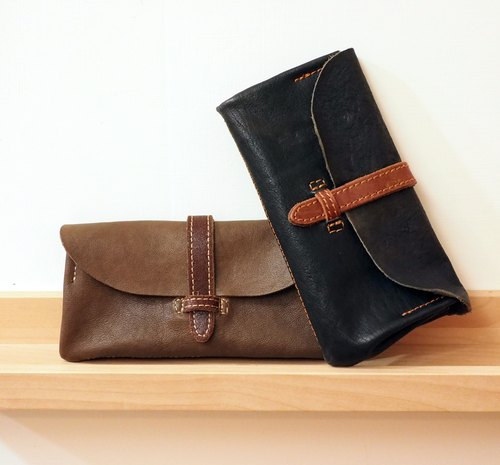 To travel together by hand sheepskin long folder / long folder / handmade leather / leather / leather / texture / hand-made / leather / Wallet