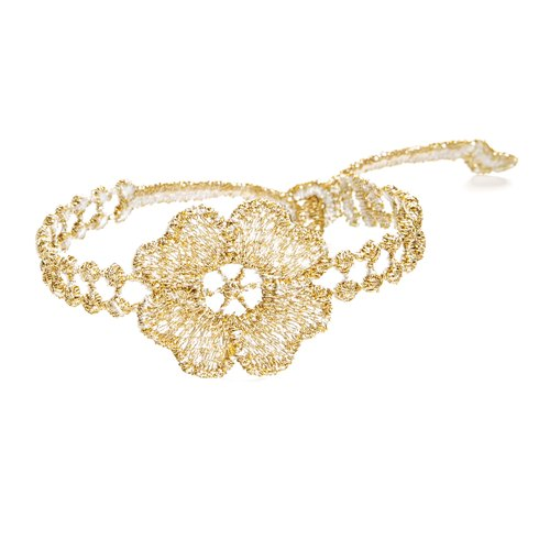 Missiu French lace embroidery lucky bracelet - golden camellia