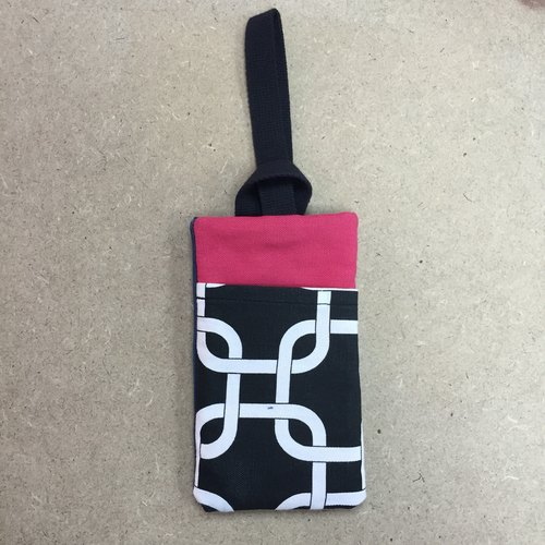 Hand-made / custom / customized: Universal cell phone pocket (black and white geometric + pink)