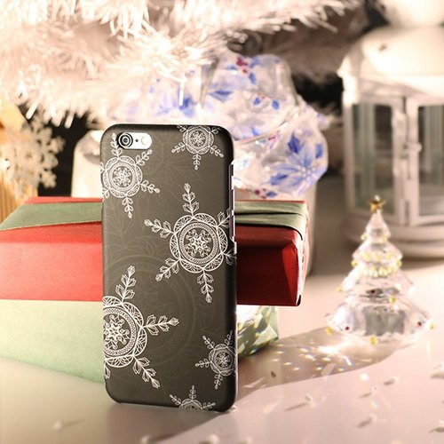 iPhone 6/6s Plus Phone Case 5.5吋 [X'mas Winter Song - Fog Black Snowflake] Christmas Gift