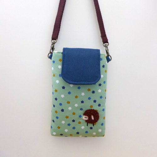 [Green background Starry] - embroidery sheep phone package (with strap)