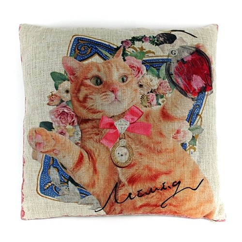 Classical Paris series favorite diamond cat lady orange cat pillowcase