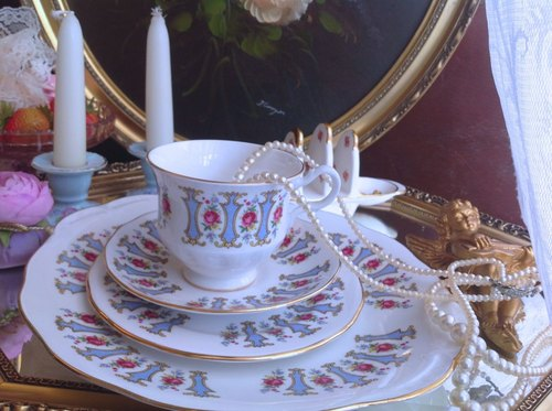 ♥ ♥ Annie crazy Antiquities British bone china 1945 French Pink Rose Garden series flower cup, coffee mugs three groups - Romantic last group