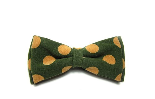 ▲ great circle little bow tie - Mo Green Yellow Hand-made Bow Tie