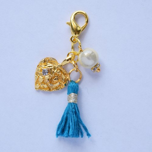 Swing Zipper Charm / sparkle Heart