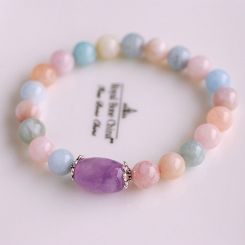 :::*CaWaiiDaisy*::: Hands natural stone jewelry - pink colored stone * Lavender Purple Morgan Silver Bracelet
