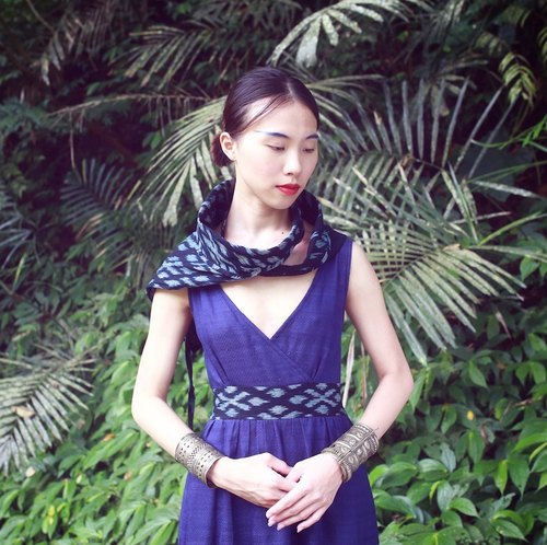 Sea will be - soft cotton hand-woven ikat dyed blue lace dress