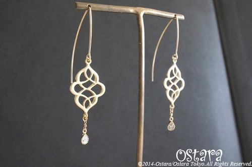 【14KGF】Earrings,16KGP Mat Gold Oriental Filigree,CZ Teardrop