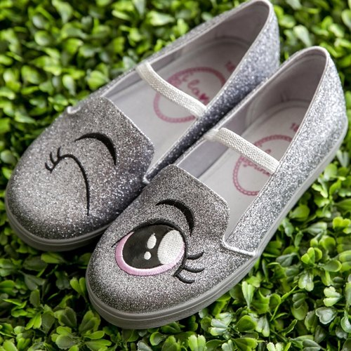 Ariel silver sequins blink happy shoes (children)