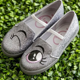 Ariel silver sequins blinking loafers (children)