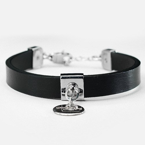 "【CHIC DOG】 ""S number double collar"" minimal leather necklace leather collar collar"