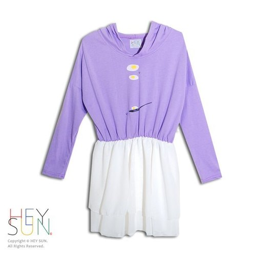 [M0255] HEY SUN independent hand-made brand ‧ tablespoon roasted egg painted purple hooded spell chiffon dresses
