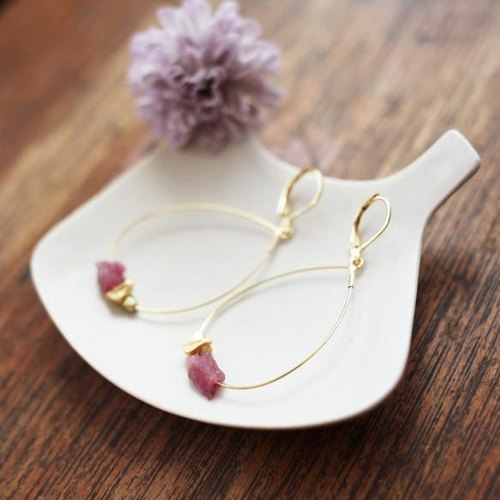Simple Stone Earrings giulia [pink tourmaline]