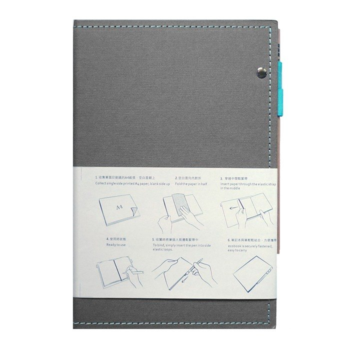 ecobook2 recovered paper notes folder - smoky gray