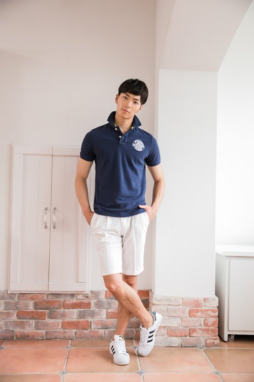 Cotton mesh Polo shirt dark blue stamp badge design models