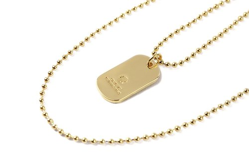 Logo Dog Tag Necklace thick LOGO military license necklace (Gold)