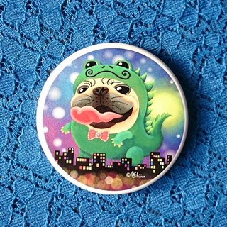 Pug Pocket Mirror-Monster Pugzilla Night